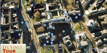 Il codice da vinci con un tour di Google Earth